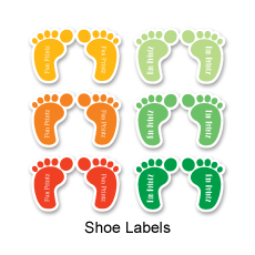 Colourful and fun shoe labels for children
